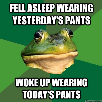 Fell asleep wearing yesterday's pants woke up wearing today's pants - Fell asleep wearing yesterday's pants woke up wearing today's pants  Foul Bachelor Frog