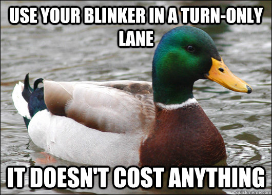 use your blinker in a turn-only lane it doesn't cost anything - use your blinker in a turn-only lane it doesn't cost anything  Actual Advice Mallard