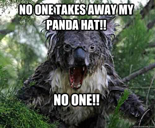 NO ONE TAKES AWAY MY PANDA HAT!! NO ONE!!