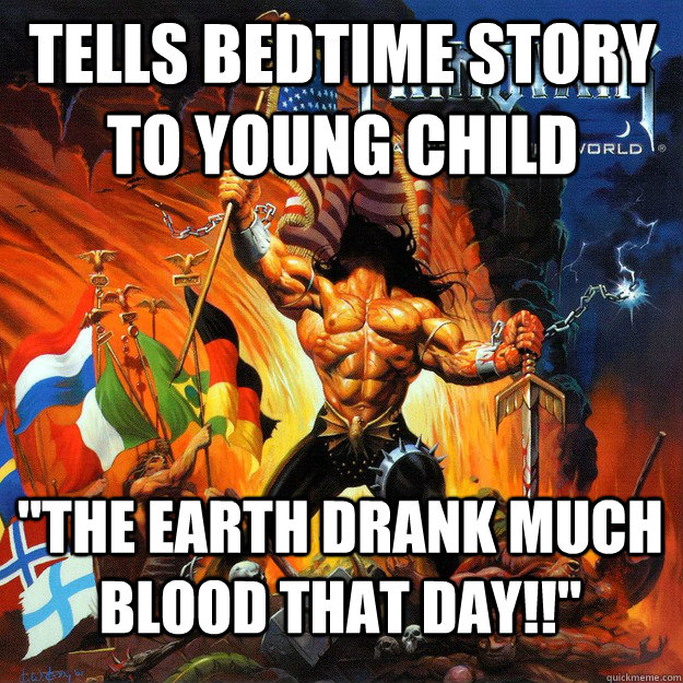 Tells bedtime story to young child