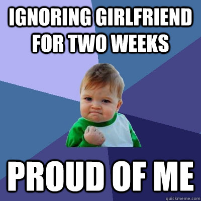 Ignoring girlfriend for two weeks proud of me - Ignoring girlfriend for two weeks proud of me  Success Kid