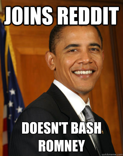 joins Reddit doesn't bash romney