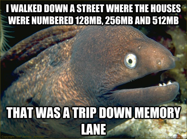 I walked down a street where the houses were numbered 128mb, 256MB and 512MB That was a trip down memory lane - I walked down a street where the houses were numbered 128mb, 256MB and 512MB That was a trip down memory lane  Bad Joke Eel