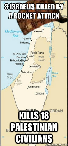 3 israelis killed by a rocket attack kills 18 palestinian civilians