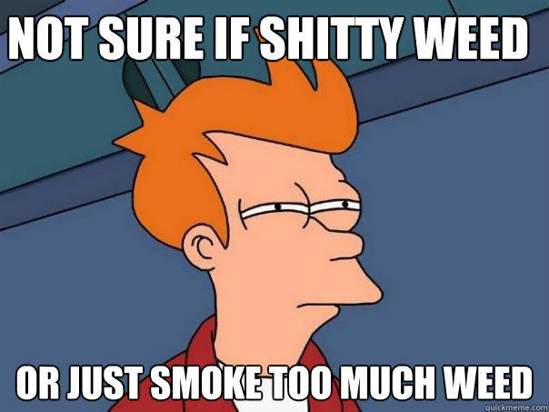 not sure if shitty weed or just smoke too much weed - not sure if shitty weed or just smoke too much weed  Futurama Fry