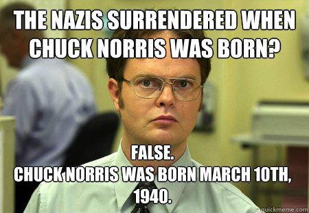 The nazis surrendered when chuck norris was born? False ...   Meme Chuck Norris Daughter