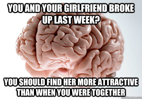 you and your girlfriend broke up last week? you should find her more attractive than when you were together - you and your girlfriend broke up last week? you should find her more attractive than when you were together  Scumbag Brain