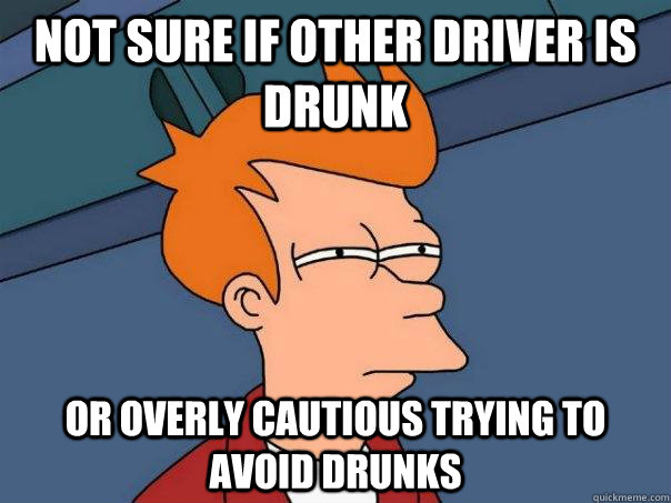 Not sure if other driver is drunk Or overly cautious trying to avoid drunks  Futurama Fry