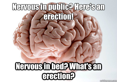 Nervous in public? Here's an erection! Nervous in bed? What's an erection? - Nervous in public? Here's an erection! Nervous in bed? What's an erection?  Scumbag Brain
