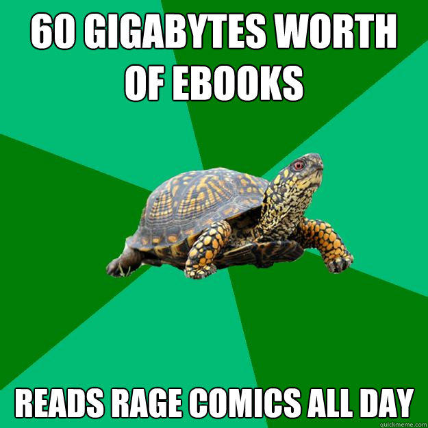 60 gigabytes worth of eBooks Reads rage comics all day