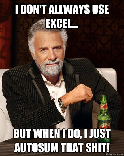 I don't allways use excel... but when I do, i just autosum that shit! - I don't allways use excel... but when I do, i just autosum that shit!  The Most Interesting Man In The World