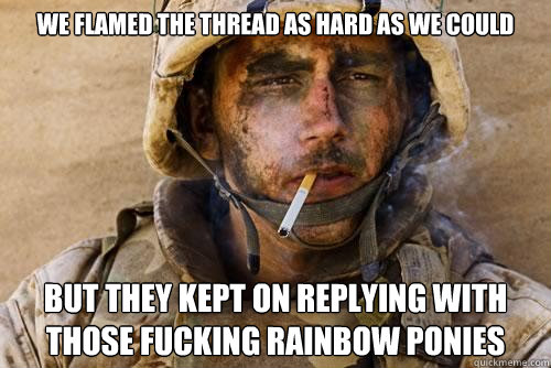 we flamed the thread as hard as we could but they kept on replying with those fucking rainbow ponies