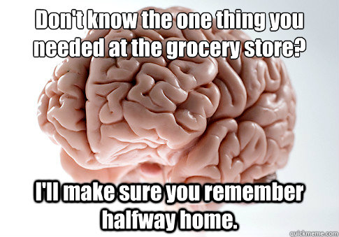 Don't know the one thing you needed at the grocery store?  I'll make sure you remember halfway home.  - Don't know the one thing you needed at the grocery store?  I'll make sure you remember halfway home.   Scumbag Brain
