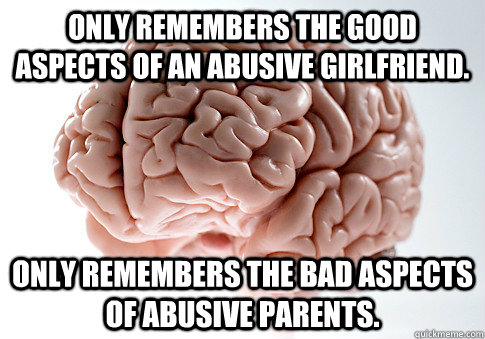 Only remembers the good aspects of an abusive girlfriend. Only remembers the bad aspects of abusive parents. - Only remembers the good aspects of an abusive girlfriend. Only remembers the bad aspects of abusive parents.  Scumbag Brain