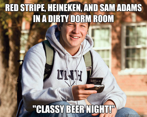 Red stripe, heineken, and sam adams in a dirty dorm room