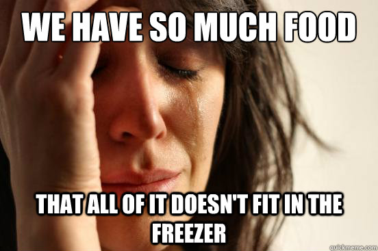 We have so much food that all of it doesn't fit in the freezer - We have so much food that all of it doesn't fit in the freezer  First World Problems