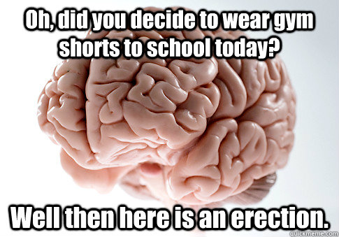 Oh, did you decide to wear gym shorts to school today? Well then here is an erection.  Caption 4 goes here Caption 5 goes here - Oh, did you decide to wear gym shorts to school today? Well then here is an erection.  Caption 4 goes here Caption 5 goes here  Scumbag Brain