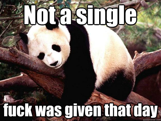 Not a single  fuck was given that day  Procrastination Panda