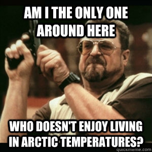 Am i the only one around here who doesn't enjoy living in arctic temperatures? - Am i the only one around here who doesn't enjoy living in arctic temperatures?  Am I The Only One Round Here