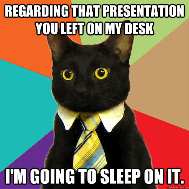Regarding that presentation you left on my desk I'm going to sleep on it. - Regarding that presentation you left on my desk I'm going to sleep on it.  Business Cat