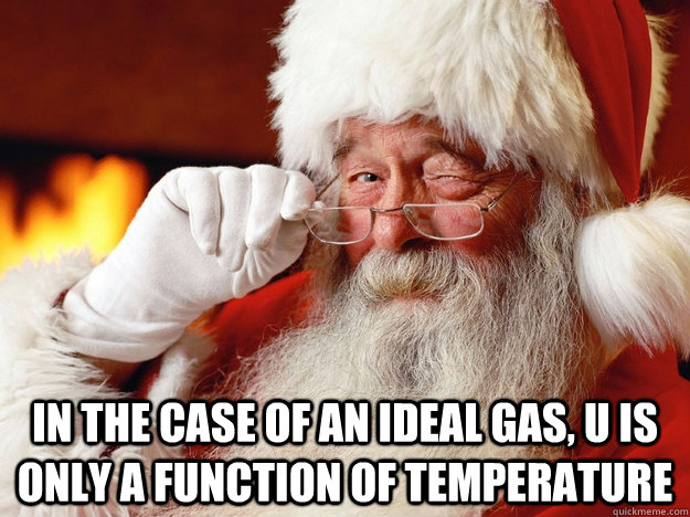 In the case of an ideal gas, U is only a function of temperature