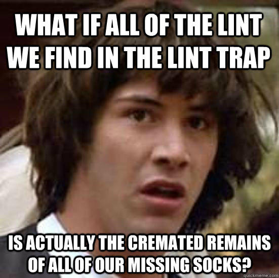 What if all of the lint we find in the lint trap is actually the cremated remains of all of our missing socks? - What if all of the lint we find in the lint trap is actually the cremated remains of all of our missing socks?  conspiracy keanu