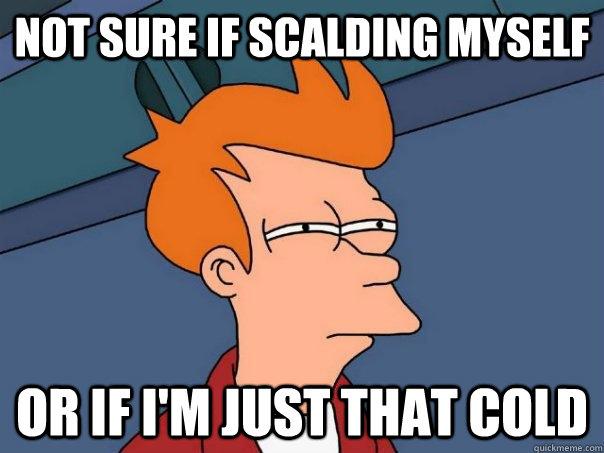 not sure if scalding myself Or if I'm just that cold - not sure if scalding myself Or if I'm just that cold  Futurama Fry