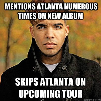 Mentions Atlanta numerous times on new album skips Atlanta on upcoming tour
