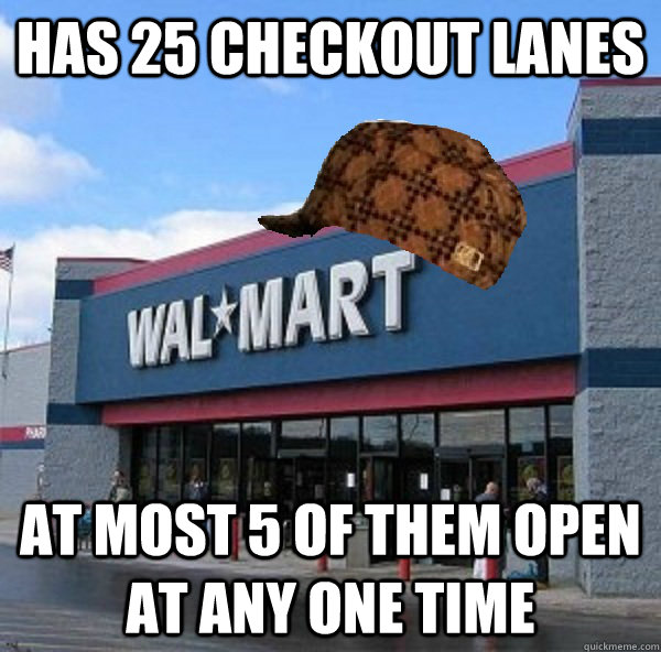 has 25 checkout lanes at most 5 of them open at any one time