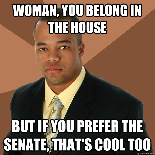 Woman, you belong in the house but if you prefer the senate, that's cool too - Woman, you belong in the house but if you prefer the senate, that's cool too  Successful Black Man