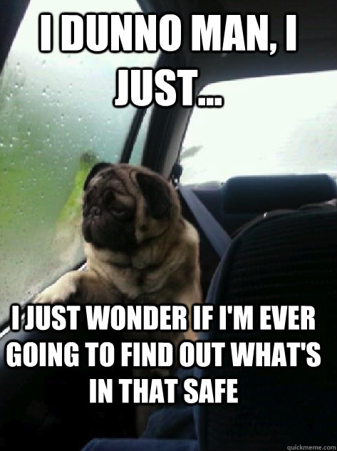 i dunno man, i just... I just wonder if i'm ever going to find out what's in that safe - i dunno man, i just... I just wonder if i'm ever going to find out what's in that safe  Introspective Pug