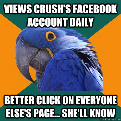 Views Crush's Facebook account daily Better click on everyone else's page... She'll know - Views Crush's Facebook account daily Better click on everyone else's page... She'll know  Paranoid Parrot