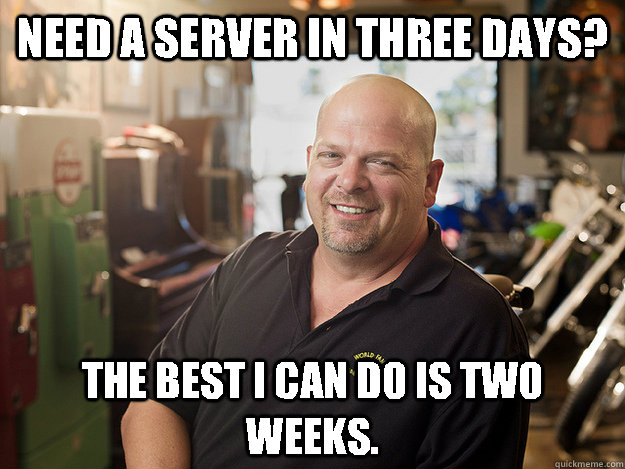 Need a server in three days? The best i can do is two weeks.