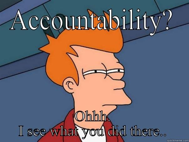 Government accountability - ACCOUNTABILITY? OHHH. I SEE WHAT YOU DID THERE.. Futurama Fry
