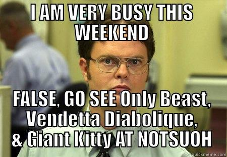 GIANTER KITTY - I AM VERY BUSY THIS WEEKEND FALSE, GO SEE ONLY BEAST, VENDETTA DIABOLIQUE, & GIANT KITTY AT NOTSUOH Dwight