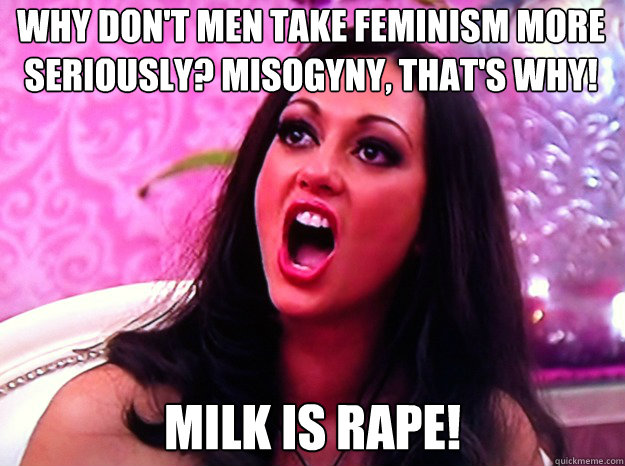 why don't men take feminism more seriously? misogyny, that's why! milk is rape! - why don't men take feminism more seriously? misogyny, that's why! milk is rape!  Feminist Nazi