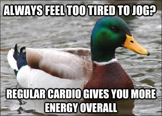 always feel too tired to jog? regular cardio gives you more energy overall - always feel too tired to jog? regular cardio gives you more energy overall  Actual Advice Mallard