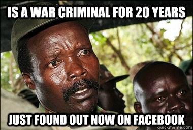 is a war criminal for 20 years Just found out now on Facebook