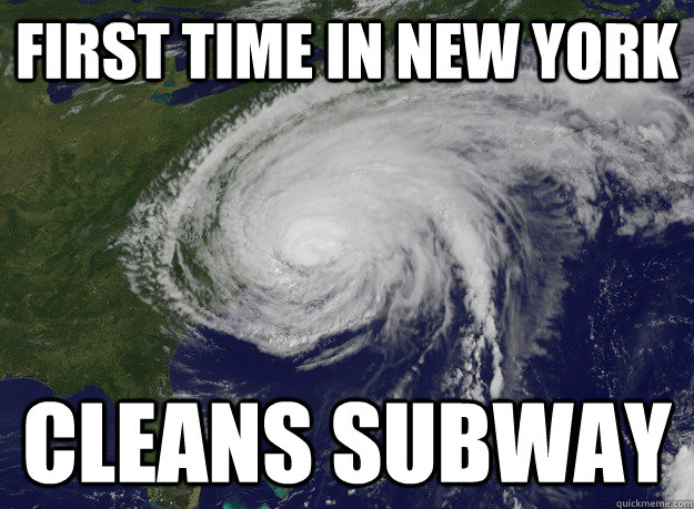 First time in New York Cleans subway - First time in New York Cleans subway  Good Guy Hurricane Sandy