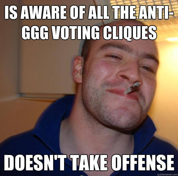 is aware of all the anti-ggg voting cliques doesn't take offense - is aware of all the anti-ggg voting cliques doesn't take offense  Good Guy Greg