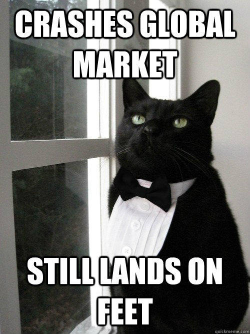 crashes global market still lands on feet  One Percent Cat