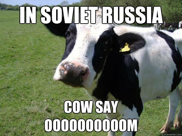 In soviet Russia Cow say oooooooooom  Whatcowwhat