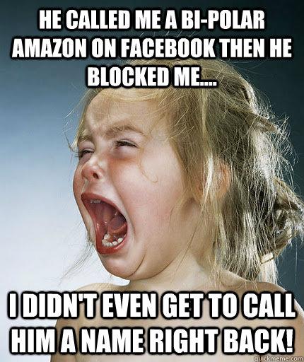 c329bcfbe4068561d77243d4eb4b4ebc10b9494d6513b72fff9252dcee061800 he called me a bi polar amazon on facebook then he blocked me,Get Blocked Meme