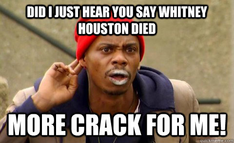 DID I JUST HEAR YOU SAY WHITNEY HOUSTON DIED MORE CRACK FOR ME!  Tyrone