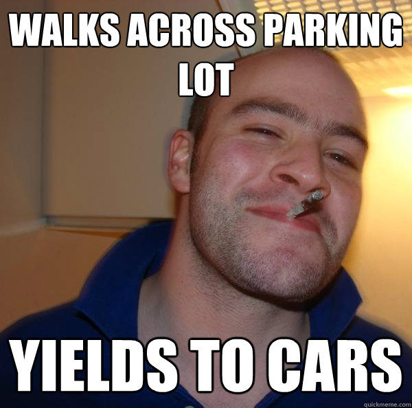 walks across parking lot yields to cars - walks across parking lot yields to cars  Misc