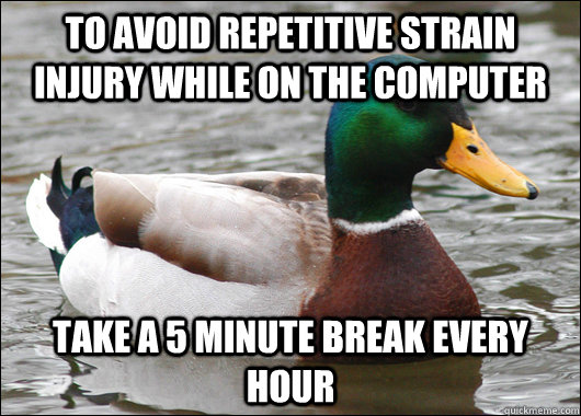To avoid repetitive strain injury while on the computer  take a 5 minute break every hour - To avoid repetitive strain injury while on the computer  take a 5 minute break every hour  Actual Advice Mallard