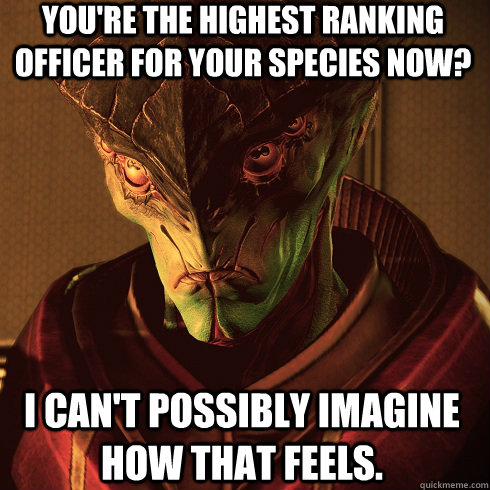 You're the highest ranking officer for your species now? i can't possibly imagine how that feels.
