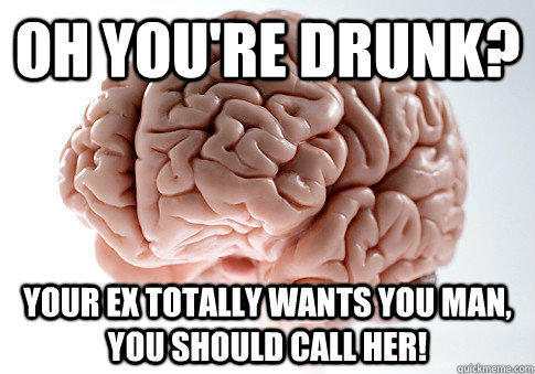 Oh you're drunk? Your ex totally wants you man, you should call her! - Oh you're drunk? Your ex totally wants you man, you should call her!  Scumbag Brain