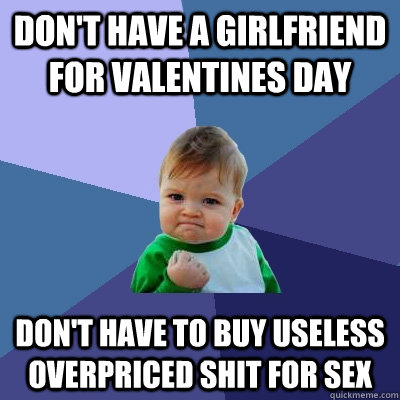 don't have a girlfriend for valentines day don't have to buy useless overpriced shit for sex - don't have a girlfriend for valentines day don't have to buy useless overpriced shit for sex  Success Kid