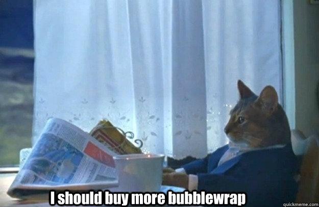 I should buy more bubblewrap - I should buy more bubblewrap  Sophisticated Cat is broke